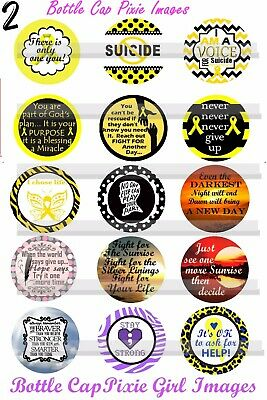 Suicide Awareness Ribbon (Suicide Awareness & Prevention Yellow Ribbon 15 Precut Bottle Cap Images)