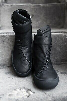 ByTheR Mens Diagonal String Leather Sneakers Zip Up Boots High Top Black Size 9
