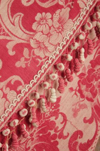 Curtain Antique French red damask fabric bed drape w/ STUNNING TRIM circa 1850