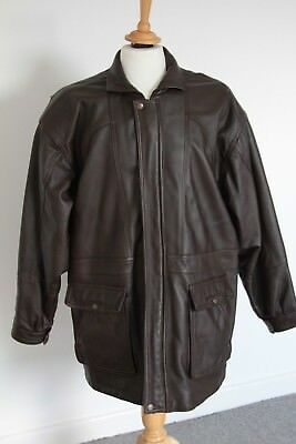 MEN'S QUALITY  SOFT BROWN LEATHER  3/4 LENGTH JACKET / COAT  - SIZE