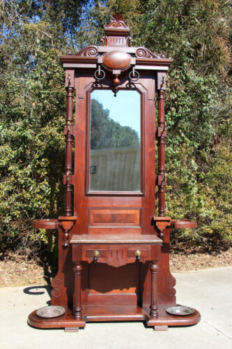 Monumental Large Walnut Victorian Renaissance Revival Brown Marble Top Hall Tree
