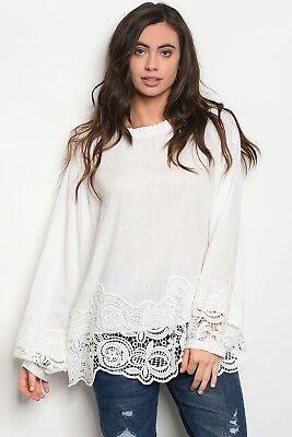 (Long Bell Sleeve Ruffled High Neckline Crochet Trim Tunic White Blouse - Boho)