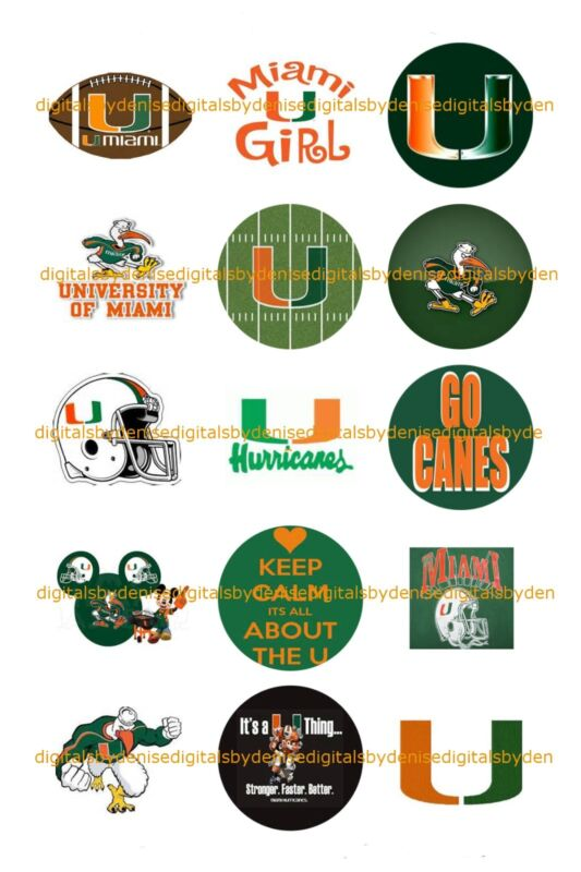 """MIAMI HURRICANES 1 """" CIRCLES  BOTTLE CAP IMAGES. $2.45-$5.50 *FREE SHIPPING*"""