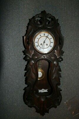 Antique Germany Made Hand Carved Wood Wall Mount Porcelain Dial Regulator Clock