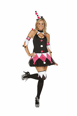 Sexy  4PC Court Jester Women's Halloween Costume. Medium and Large
