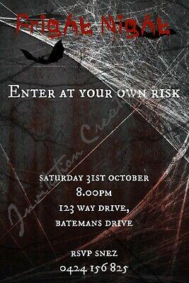 Scary Halloween Invitations (DIY Print Custom HALLOWEEN SCARY GHOST FRIGHT NIGHT Birthday Party)