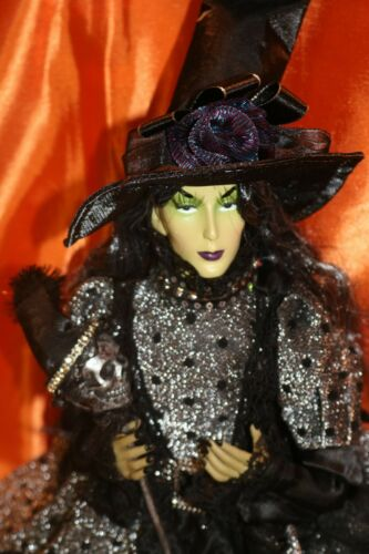 HALLOWEEN WITCH doll sitting with skeleton wand