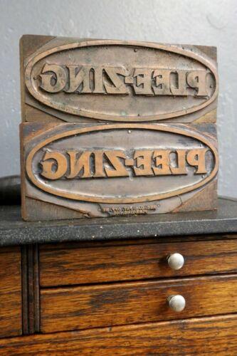Vintage antique wood brass Letter Press Printing Typesetting Blocks stamps old