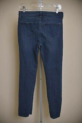 Spanx Slim-X Straight Leg Jeans Dark Blue Wash Stretch Denim Slimming Size -
