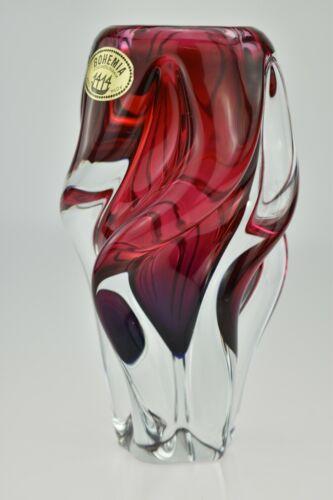 Vintage Chribska Bohemia Hand Blown Art Glass Twist Vase Red & Purple Hospodka
