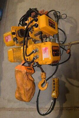 Harrington 1ton Electric Chain Hoist Ner010l W Power Trolley 230v460v 3p 1 Ton