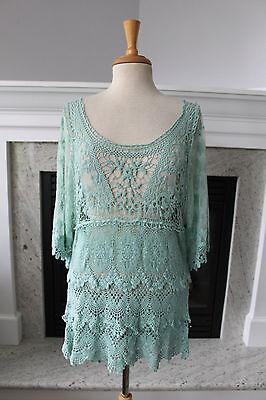 Light Mint Green (PRETTY ANGEL NWT Light Mint Green Open Crochet Lace Tunic Sexy Edwardian TOP)