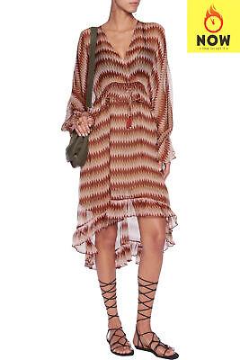 RRP €750 ZIMMERMANN Silk Beach Dress Size 2 / M Rhombus Ruffle Trim V Neck