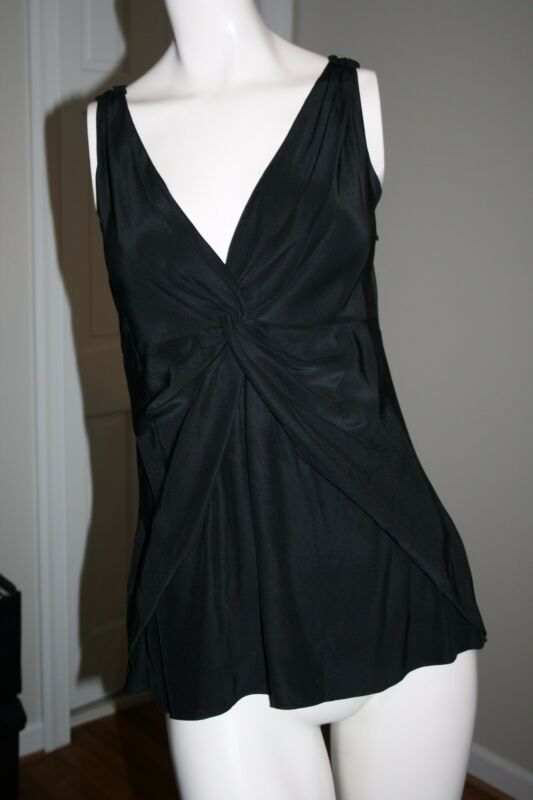 CYNTHIA Cynthia Steffe Black Silk Twist Front Sleeveless Blouse Size S/P