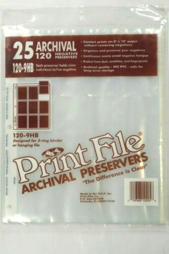 Print File #120-9HB, 25 x Archival Storage Pages for 6x7 Images on 120 Film, NEW