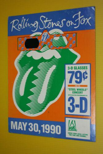 RARE ROLLING STONES 1990 STEEL WHEELS PROMO 3D GLASSES DISPLAY URBAN JUNGLE TOUR