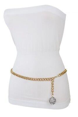 Damengürtel Kostüm Mode Schmal Gold Metallkette Bling Disco Ball Schnalle M L (Disco Mode Kostüm)