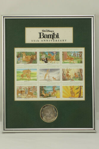 Walt Disney Bambi 55th Anniversary stamps .999 Troy OZ Silver Coin Medallion COA