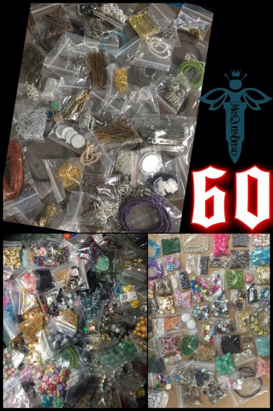 60 bags BEADS & FINDINGS Huge MIX Jewelry Making Supplies 👑🐝 MrsQueenBeead