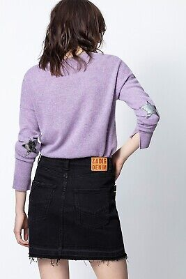Zadig & Voltaire Cici Star Patched Elbows 100% Soft Cashmere Sweater sz S $368
