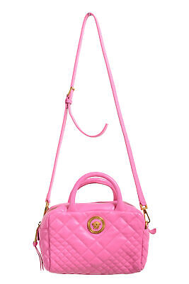 Versace Women's 100% Leather Quilted Icon Dual Carry Satchel Handbag Bag