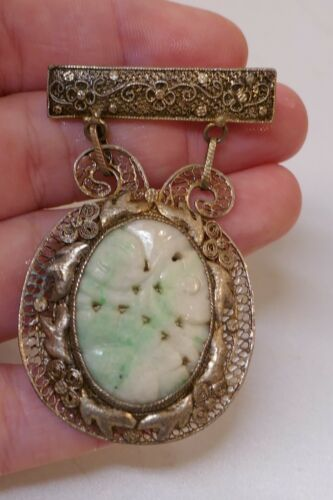Antique Chinese Silver Filigree & Jade Brooch / Pin - 13.4 Grams