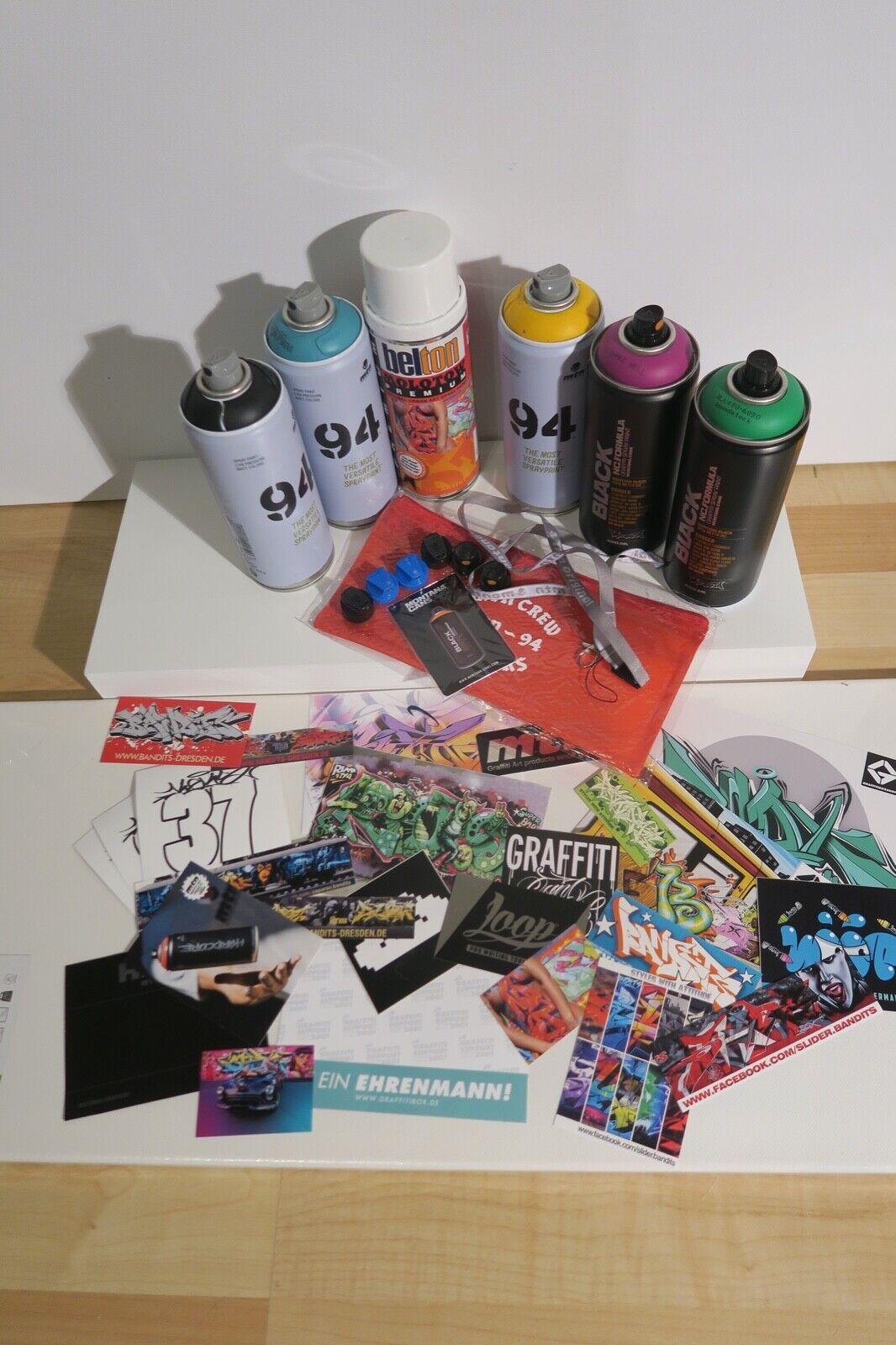 Sprühdosen Set Graffiti Montana Cans MTN + Caps + Sticker+ Stiftetasche + extras