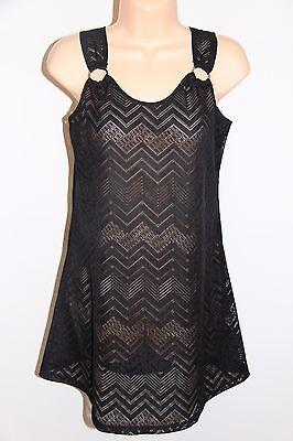 J. Valdi Swimsuit Bikini Cover Up Tunic Sz S Black Crochet