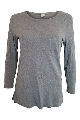 IRIS & INK Grey Lycoell and Cotton Long Sleeve Top (L)