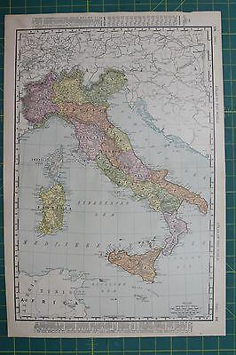 Italy Vintage Original 1895 Rand McNally World Atlas Map Lot