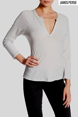 Cotton Sleeveless Raglan Tee - NWT $135 JAMES PERSE SPLIT NECK RAGLAN L/S SIDEWALK TEE. WSVH3266CU. Sz 2(M)