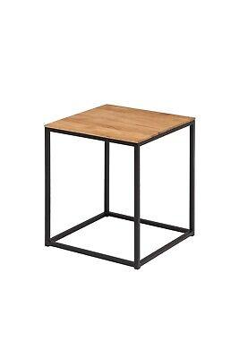 Beistelltisch Cube Wildeiche Massiv Quadratrohr Schwarz Natur Couchtisch Tisch