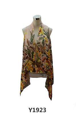 Multi Floral Scarf - Women's Sheer Design Floral Scarf Vest Multi Color Lightweight Summer