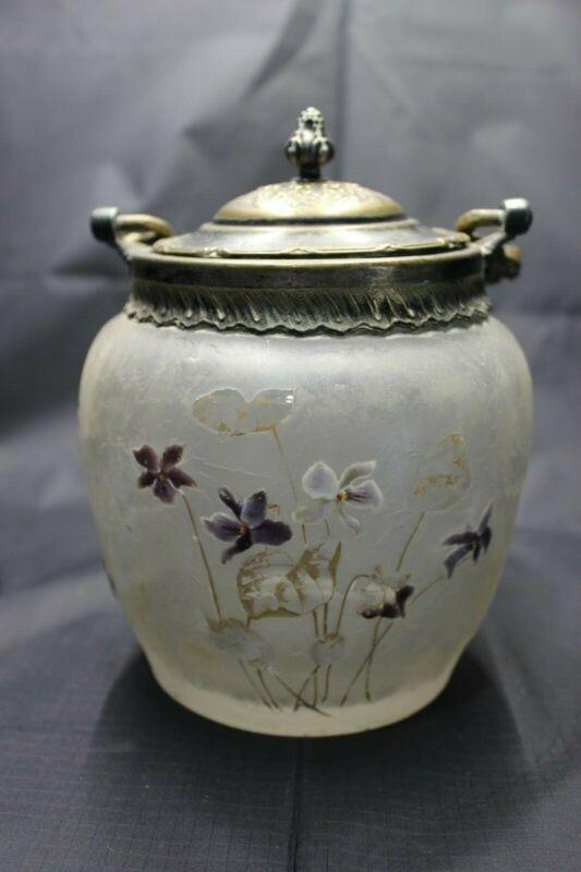 Antique Enameled Glass & Stamped Ornate Metal Candy Cookie Jar Basket