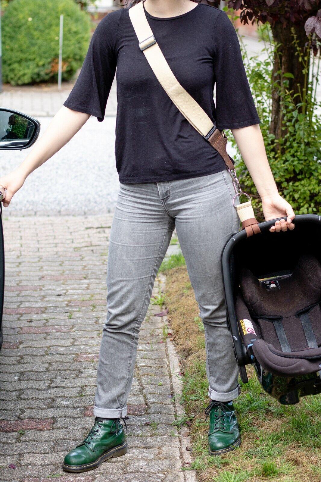 TRAGEGURT f. Babyschale aller Marken-Farbe SCHWARZ -Handgefertigt - Made in DEU