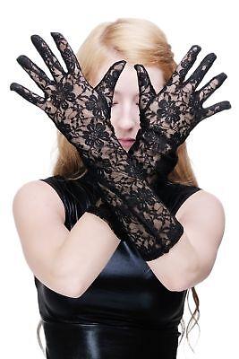 Handschuhe Netzhandschuhe Spitze Spitzenhandschuhe Lang Schwarz Gothic Hexe Z076