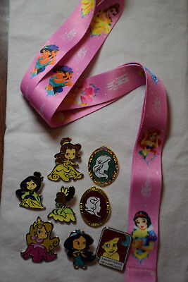 Disney Pin Princess Starter Set Lanyard B & 8 Princess pins Ariel Jasmine Belle