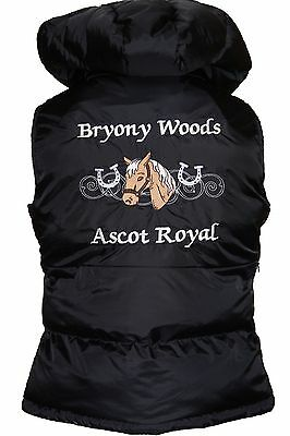 Personalised embroidered horse pony gilet bodywarmer horseshoes, change colours