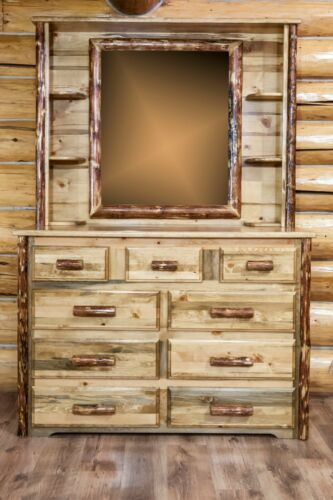 Rustic Log 9 Drawer Dresser With Hutch Mirror Amish Made Solid Wood