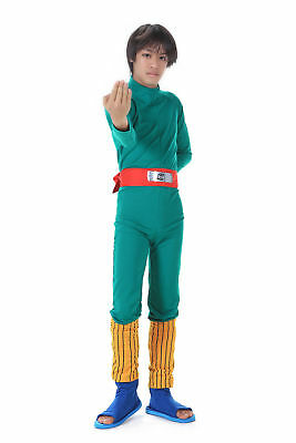 Naruto Shippuden Cosplay Costume Hidden Leaf Shinobi Rock Lee Outfit 1st Ver Set