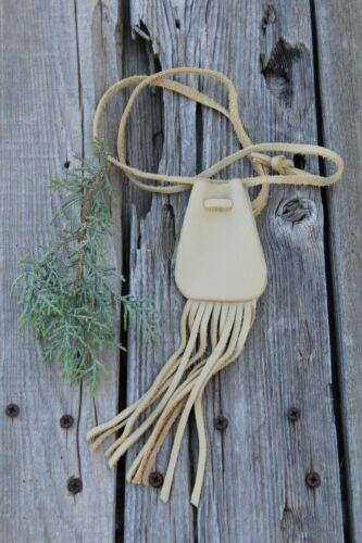 Leather neck bag with fringe , Leather medicine bag,