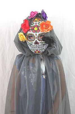 Tag der Toten Catrina Dia Los Muertos Skelett Kostüm Kinder Schädel Coco Neu ()