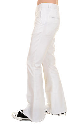 Mens 60s 70s Vintage Retro Presley White Cotton Twill Bell Bottom Trousers](60s Mens Clothes)