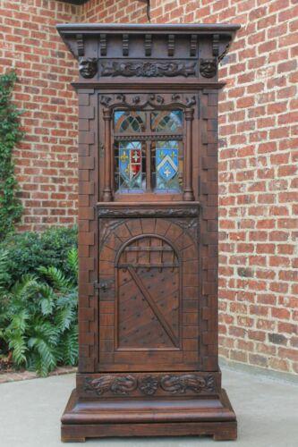 Antique French Oak STAINED GLASS Cabinet GOTHIC Medieval Bookcase Fleur de Lis