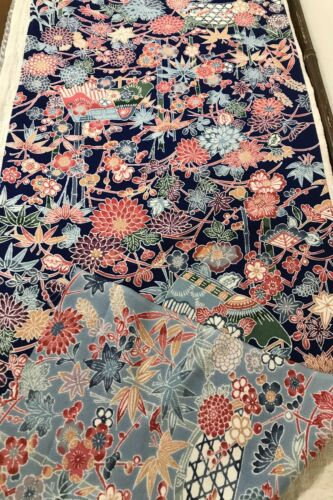@@ 106 cmx 36 cm Japanese kimono silk fabric/ smooth crepe/ navy blue EX75