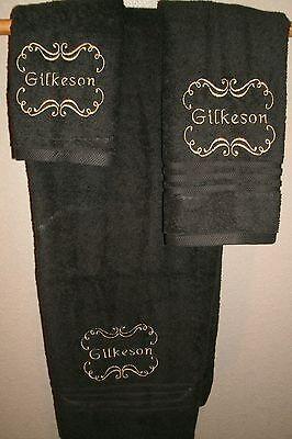 Monogram Scroll Frame Personalized 3 Piece Bath Towel Set Any Color  3 Piece Scroll Bath