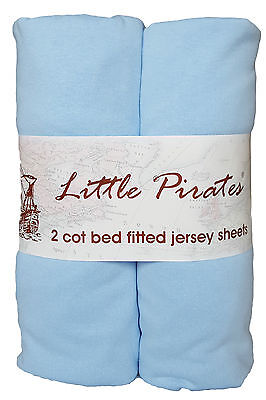 2 x Baby Cot Bed Fitted sheet 70x140 100% cotton jersey BNIP Blue