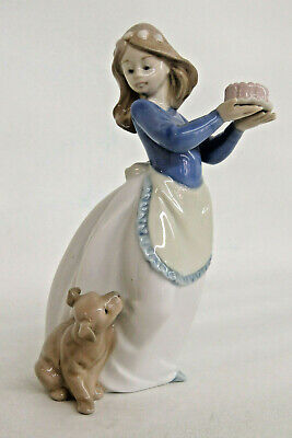 Birthday Cake For Girls (Lladro Nao Daisa Puppys Birthday Girl with Cake for Dog Porcelain Figurine)