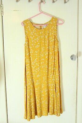Ichi Yellow Floral Midi Dress Sleevless size 8