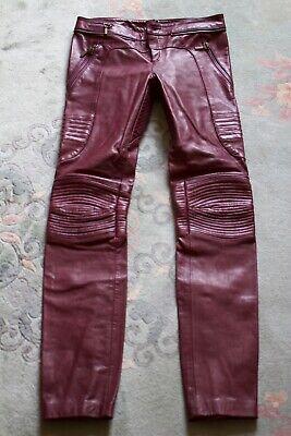 #Designer #Vintage BNWT Burgandy Alexander McQueen, leather biker trousers